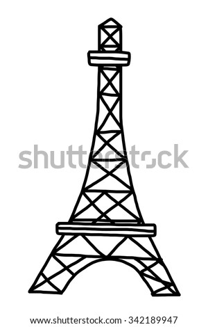 eifel tower cartoon vector and illustration black and white hand drawn sketch