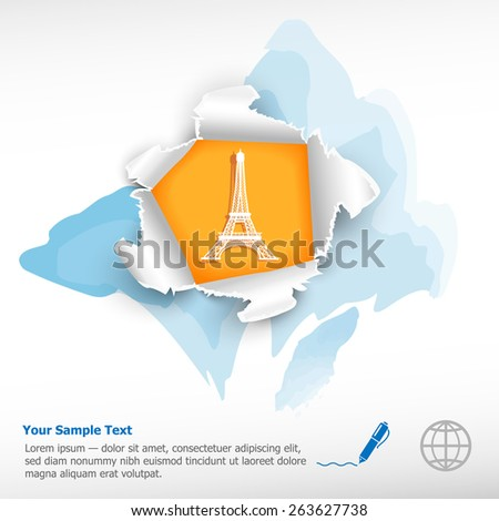 Eiffel tower and breakthrough paper hole with ragged edges on watercolor background - stock vector