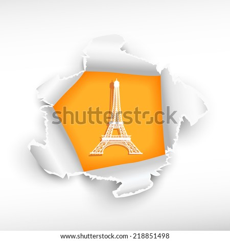 Eiffel tower and breakthrough paper hole with ragged edges with a space for your message.