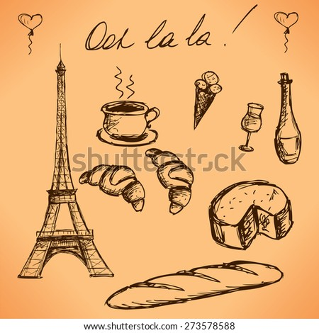 Eiffel Tower and French food. Vintage hand drawn picture for design and scrapbook. vector - stock vector