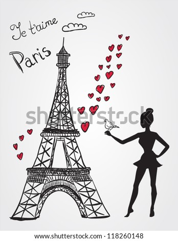 Eiffel tower and girl with bird - stock vector