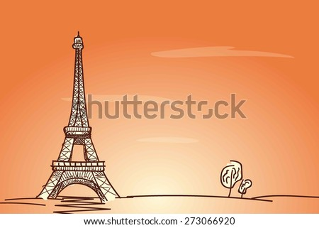 Eiffel tower and trees on delicate orange background, sketch  vector illustration - stock vector