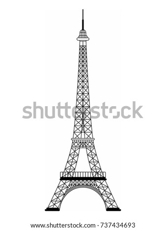 eiffel tower black and white drawing vector illustration