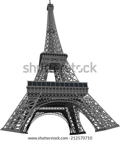 Eiffel Tower 3D Vector Illustration - stock vector