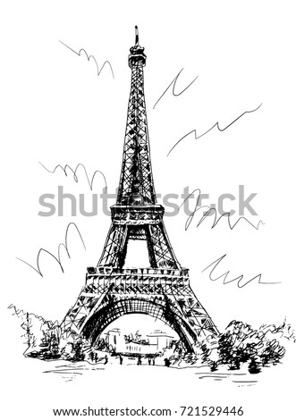 Eiffel Tower Drawn By Pen Tracing Stock Vector 721529446