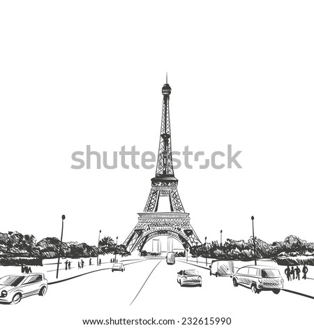 Eiffel Tower hand drawn, vector illustration - stock vector