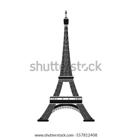Eiffel tower icon in black style isolated on white background. France country symbol stock vector illustration.