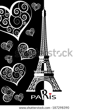 Eiffel tower in Paris for travel design. - stock vector