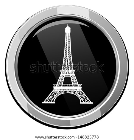 Eiffel Tower in Paris, France - black icon isolated - stock vector