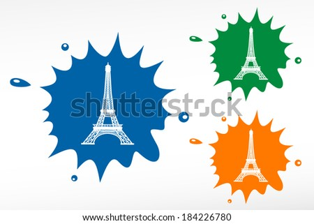 Eiffel Tower in Paris, France - color blob - stock vector