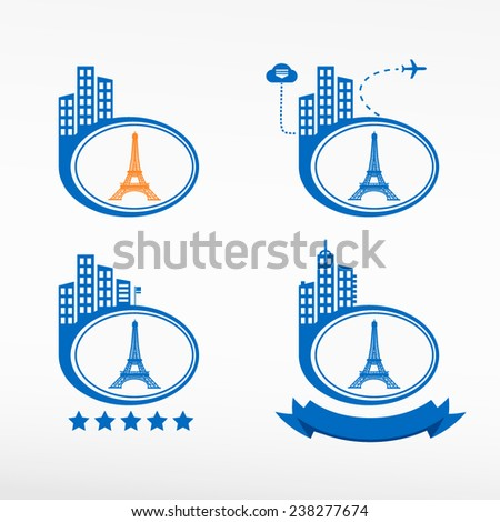 Eiffel Tower in Paris, France icon city background. Cityscape illustration set.   - stock vector