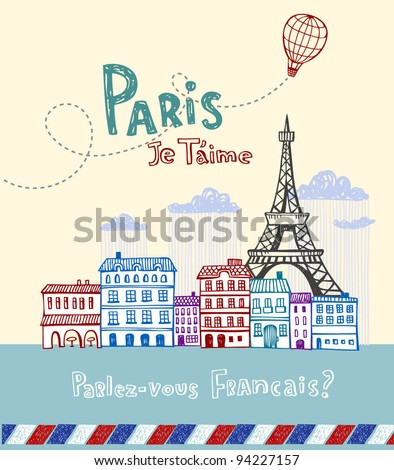 Eiffel tower in Paris, post card in doodle style - stock vector