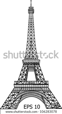Eiffel Tower in Paris vector illustration, EPS 10.