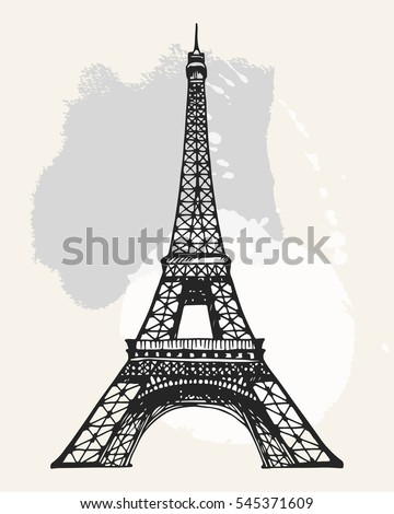 Eiffel tower paris vector illustration hand stock vector 545371609 eiffel tower in paris vector illustration hand drawn famous french landmark silhouette on a watercolor thecheapjerseys Gallery