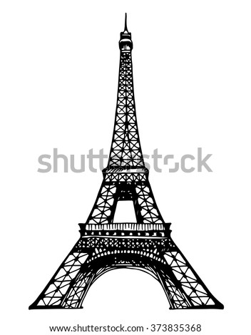 Eiffel Tower in Paris vector illustration, hand drawn famous french landmark silhouette on a white background