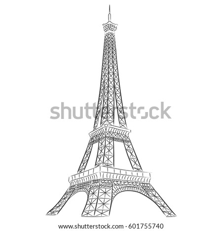 Eiffel tower paris vector illustration hand stock vector royalty eiffel tower in paris vector illustration hand drawn famous french landmark silhouette on a white thecheapjerseys Gallery