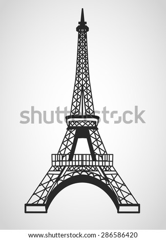 Eiffel tower is isolated on a white background - stock vector