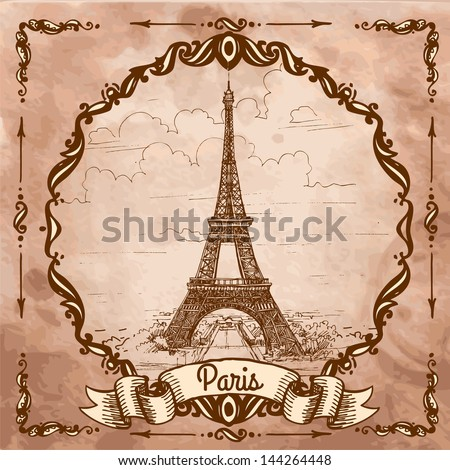 Eiffel tower. Landscape on a vintage postcard, sketch, engraving. - stock vector