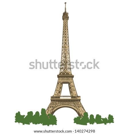 Eiffel Tower of Paris - colored vector lineart illustration