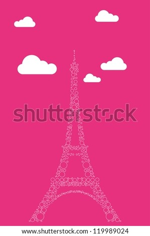 Eiffel tower on the pink background - stock vector