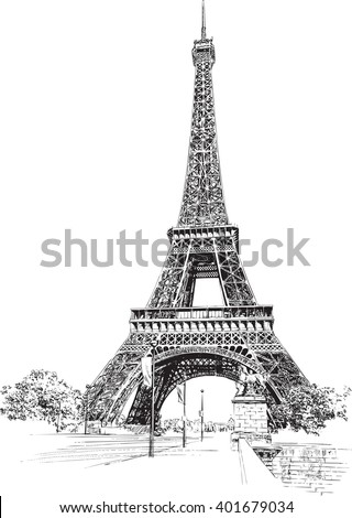 Eiffel Tower, Paris, France. Hand drawing, vector illustration. - stock vector