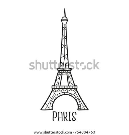 Eiffel Tower Paris France Traditional Doodle Image ...