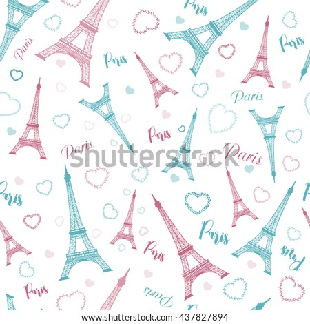 Eiffel tower, Paris, love. Seamless pattern with romantic hearts for invitations, clothing, travel, cards, designs products, bags and accessories - stock vector