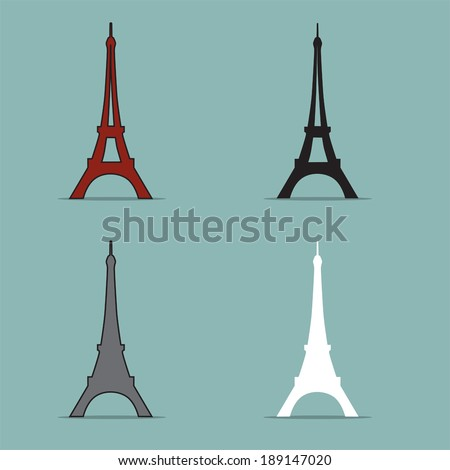 Eiffel Tower Set Vector.  - stock vector