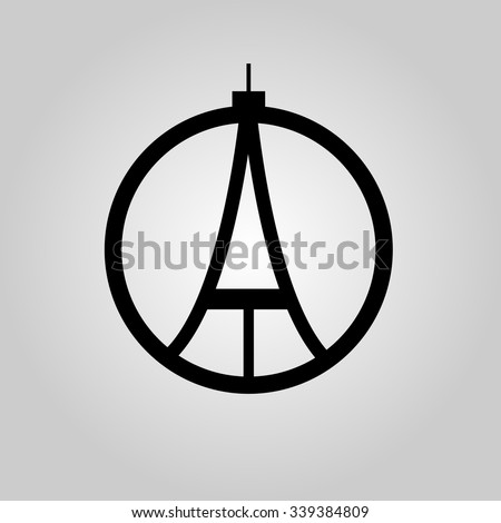 eiffel tower sign pray paris france stock vector 339384809