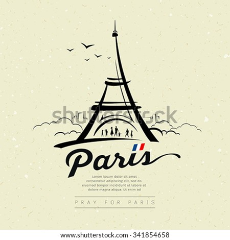 Eiffel tower sketch design on cream recycle paper, greeting card background, vector illustration - stock vector