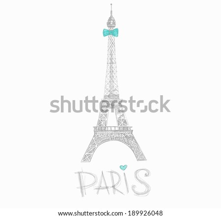 Eiffel Tower sketch style - stock vector