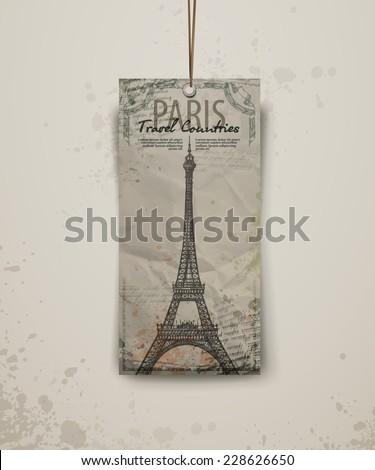 Eiffel tower vector illustration. Eiffel tower in Paris, post card in doodle style - stock vector