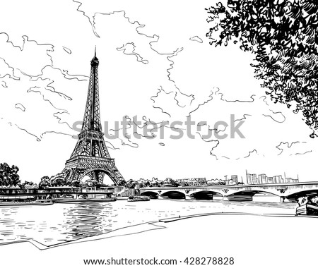 Eiffel Tower vector sketch. Paris, France. Hand drawn vector illustration - stock vector