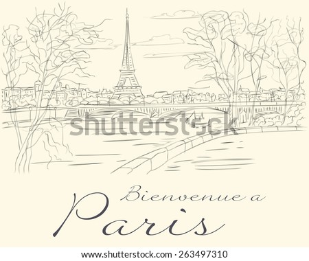 Eiffel Tower view from the  Seine River - stock vector