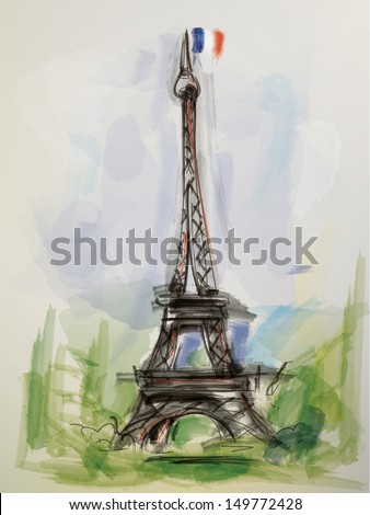 Eiffel-tower Water color, Artwork (Vector) - stock vector