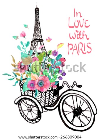 Eiffel tower with watercolor flowers, colorful illustration for beautiful design Vector - stock vector