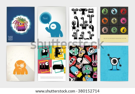 Eight banners with monsters. Set of funny monsters. Gift cards, invitation, cartoon illustration