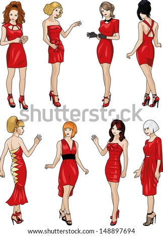 Eight beautiful Caucasian race ladies with stylish hairdo and beautiful smile in red cocktail dresses in realistic cartoon style - stock vector