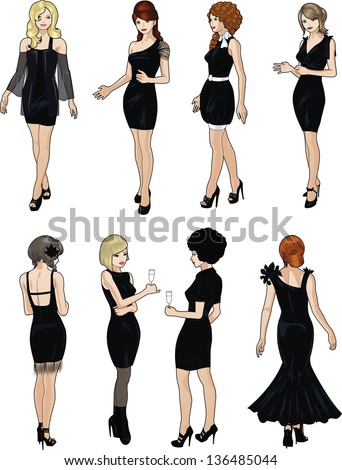 Eight beautiful ladies with stylish hairdo and beautiful smile in black cocktail dresses in realistic cartoon style - stock vector