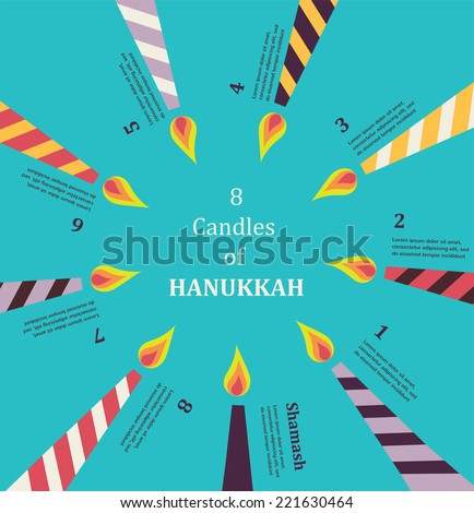 Eight candles for eight days of Jewish holiday Hanukkah  infographics - stock vector