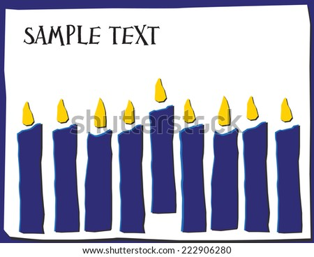 Eight Candles in Hanukkah Colors with Room for Text
