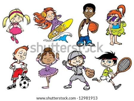 Eight colorful sport children characters