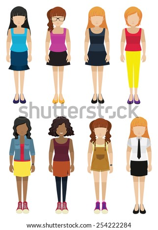 Eight faceless ladies on a white background
