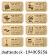 Eight hi quality vector cinema tickets. Each ticket is organized in three layers, separating background from art and text. - stock vector