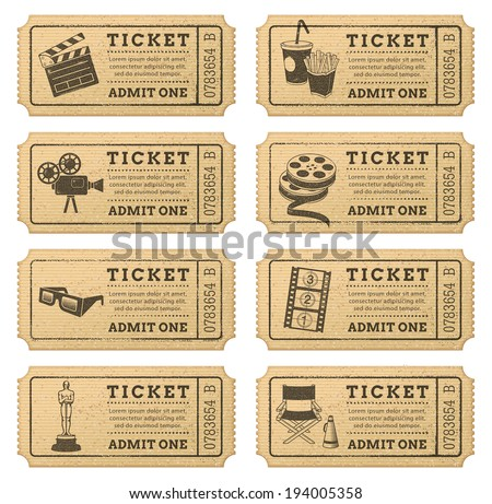 Eight hi quality vector cinema tickets. Each ticket is organized in ...