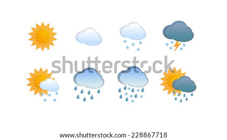 Eight icons on white background for any weather