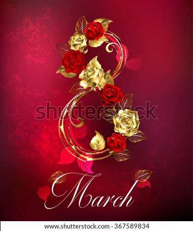 Eight of interwoven gold and red roses on red textural background.