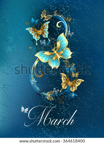 Eight of the luxury, jewelry butterflies on blue textural background.  - stock vector