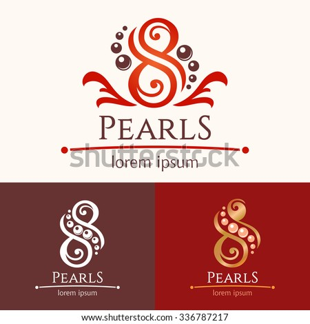 Eight pearls. Logo template design set, beauty services emblem. Spa or feng shui studio