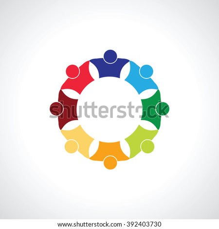 eight  people icon. people friends logo concept vector icon. this icon also represents friendship, partnership cooperation unity, - stock vector